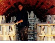 Stacking Tiles inside Di's Kiln