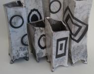 White crackle with geometric glaze masking