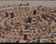 Graduate Exhibiton. Installation 365 Raku Vessels on the Beach at Mosman Park, Western Australia